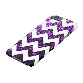 Dark Purple glitter sparkles and White Chevron Barely There iPhone 6 Case
