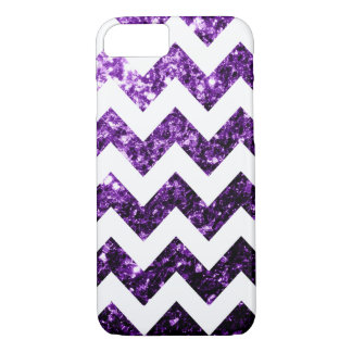 Dark Purple glitter sparkles and White Chevron iPhone 8/7 Case