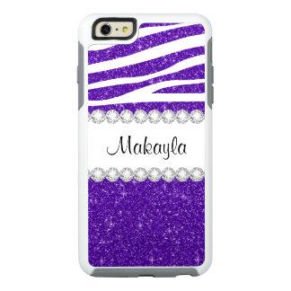 Dark Purple Glitter Zebra OtterBox iPhone 6 Case