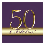 Dark Purple Gold 50 and Fabulous Birthday Personalized Invitation