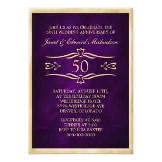 Dark Purple Golden Anniversary Celebration Card
