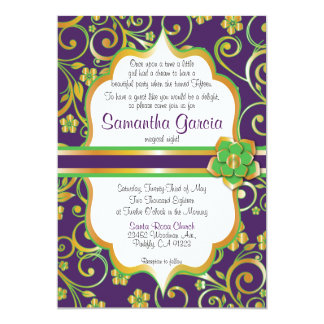 Dark Purple, Green & Gold Quinceañera Invite,  15 Card