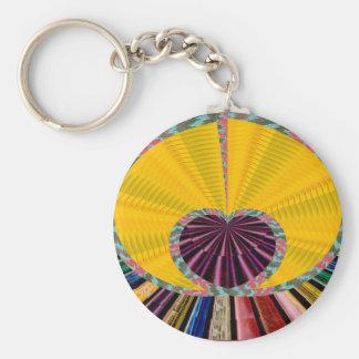 Dark Purple Heart in a Platter Basic Round Button Keychain