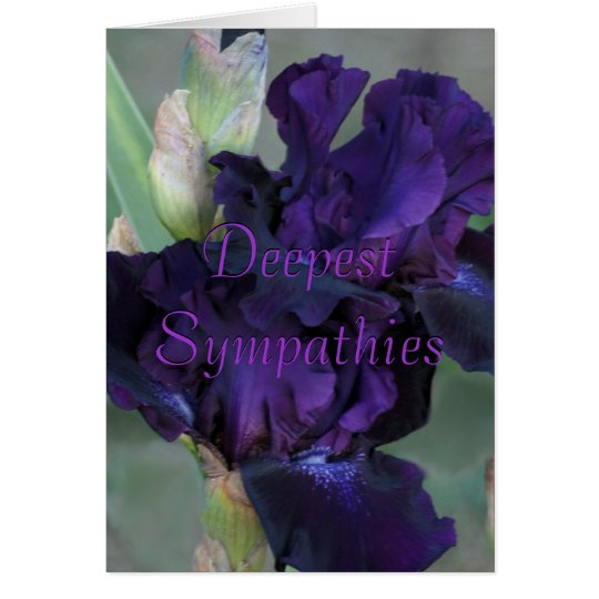 Dark Purple Iris Sympathy Card- customize Card