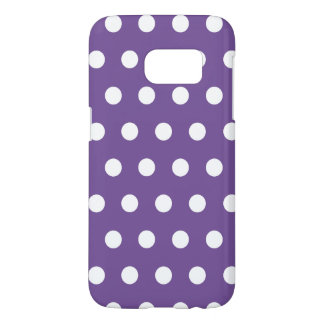 Dark Purple Lavender And White Polka Dots Pattern Samsung Galaxy S7 Case
