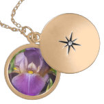 Dark Purple Lavender Iris Pendant