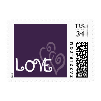 Dark Purple Love Hearts for Wedding Postage