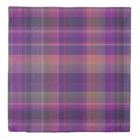 Dark Purple Madras Plaid Stripe Pattern Duvet Cover