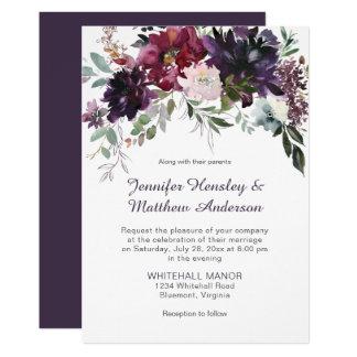 Dark Purple, Mauve, Red, Pink Floral Wedding Invitation