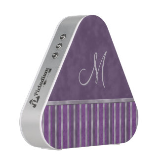Dark Purple Metallic Lavender Stripe Monogram Bluetooth Speaker