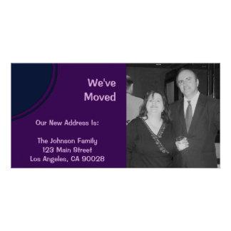 Dark purple modern Moving Announcement Photo Card Template