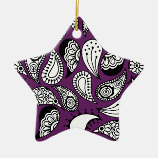 Dark Purple Paisley Ceramic Ornament