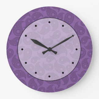 Dark Purple Paisley. Wallclocks