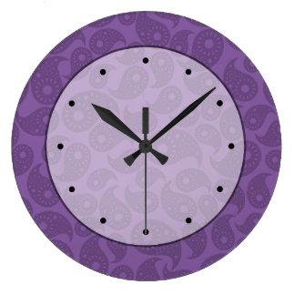 Dark Purple Paisley. Large Clock