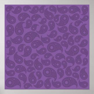 Dark Purple Paisley. Poster