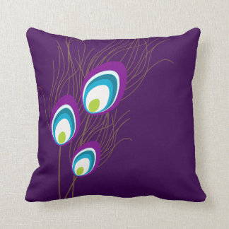 Dark Purple Peacock Feathers Throw Pillow