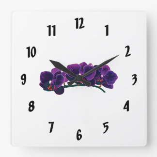 Dark Purple Phalaenopsis Orchids Square Wall Clock