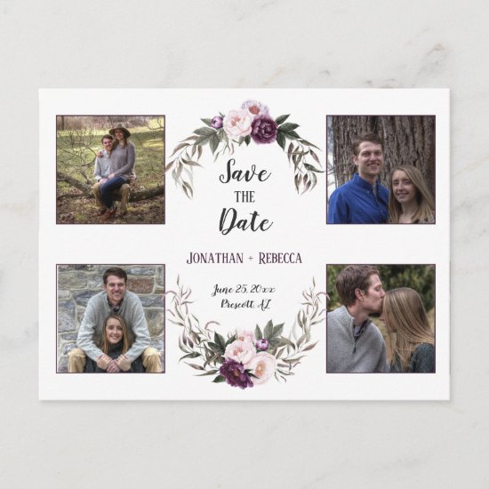 Dark Purple Plum Peonies Photo Save The Date Announcement Postcard