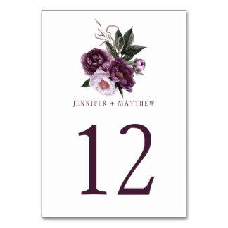 Dark Purple Plum Pink Floral Greenery Table   Table Number