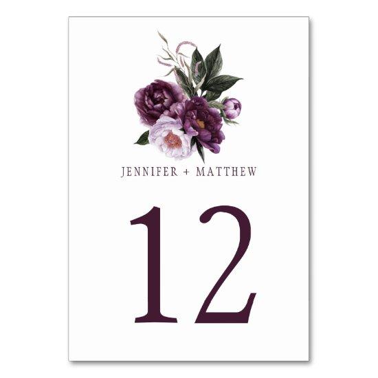 Dark Purple Plum Pink Floral Greenery Table | Table Number