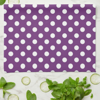 Dark Purple Polka Dots Kitchen Towel