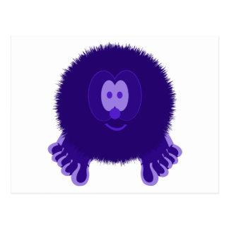 Dark Purple Pom Pom Pal Postcard