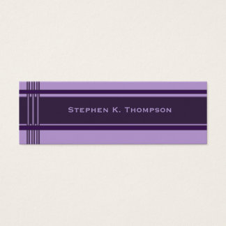 Dark purple Professional Stripes Block Mini Business Card