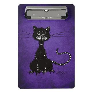 Dark Purple Ragged Evil Black Cat Mini Clipboard