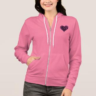 Dark Purple Rose Heart Hoodie