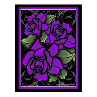 Dark Purple Roses Postcard