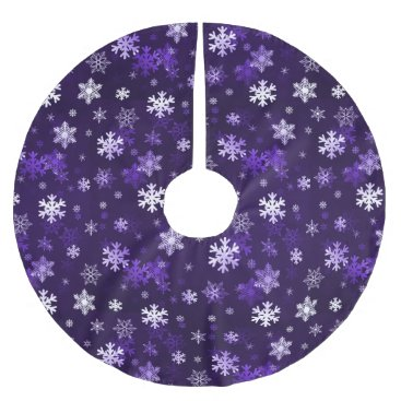 Christmas Themed Dark Purple Schnowflakes Brushed Polyester Tree Skirt