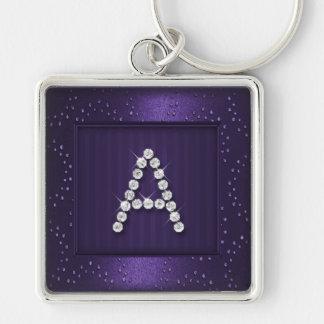 Dark Purple Shimmer and Sparkle with Monogram Keychain