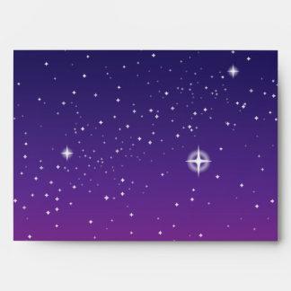 Dark Purple Starry Night Sky Envelope