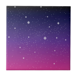 Dark Purple Starry Night Sky Tile