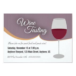 Dark Purple Stripes Wine Tasting Party Card
