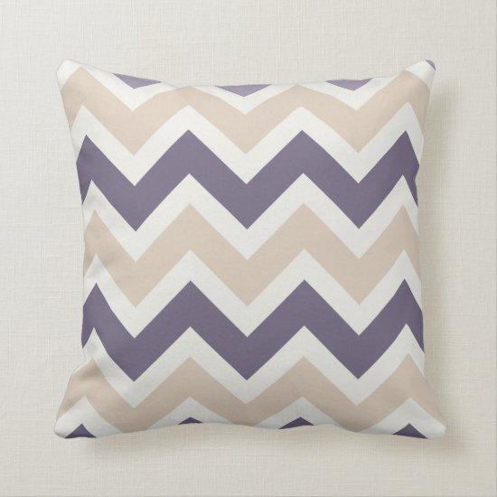 Dark Purple Tan Ivory Chevron Pattern Throw Pillow