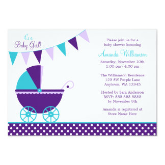 Dark Purple Teal Bunting Carriage Baby Shower Card