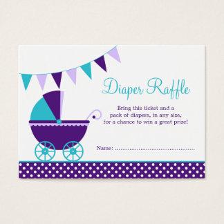 Dark Purple Teal Carriage Diaper Raffle Ticket