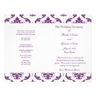 Dark Purple Vintage Damask Wedding Program