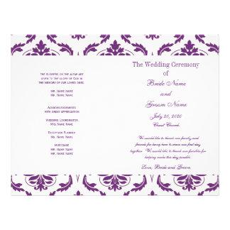 "Dark Purple Vintage Damask Wedding Program 8.5"" X 11"" Flyer"
