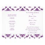 Dark Purple Vintage Damask Wedding Program Flyer Design