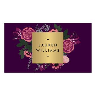 Dark Purple Vintage Modern Floral Motif Designer Business Card