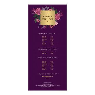 Dark Purple Vintage Modern Floral Motif Designer Rack Card