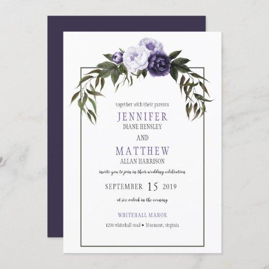 Dark Purple Violet Peonies Watercolor Weddings Invitation