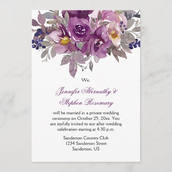 Dark Purple Watercolor Floral Reception Only Invitation