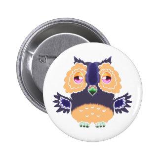 Dark purple Watercolor Owl Button