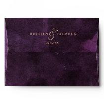 Dark Purple Watercolor Rose Gold Wedding Monogram Envelope