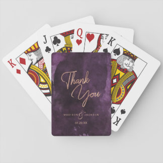 Dark Purple Watercolor Rose Gold Wedding Thank You Playing Cards