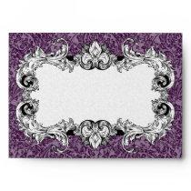 Dark Purple & White A7 Gothic Baroque Envelopes