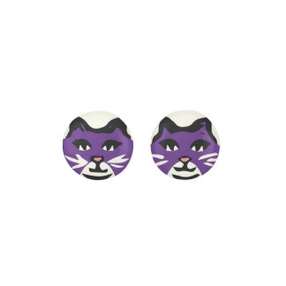 DARK PURPLE & WHITE CAT With White Whiskers Earrings